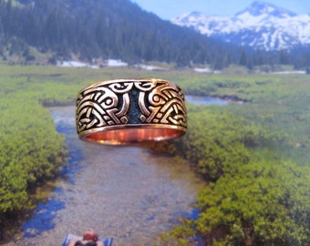 Solid copper Celtic Knot band ring #CRI1347 - 3/8 of an inch wide.  Available in sizes 9, 10, 11, 13, 14 & 15.