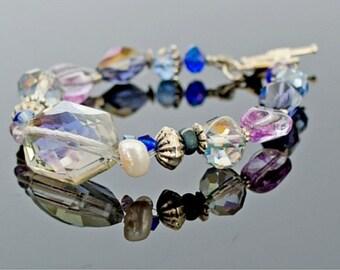 Bracelet Large Crystal with Pearl Silver Purple and Blue, Designer Gemstone Bracelet, Pearl and Crystal Bracelet, Hanukkah Theme Color
