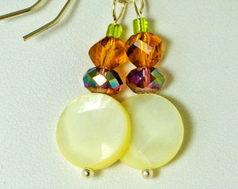 Pastel Yellow Mother of Pearl with Rose and Gold and Peridot Green Crystal Earrings, Perfect for Spring, Summer or Easter Earrings