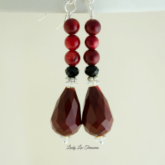 Jewels House Red Coral Faceted Gemstone Silver Plated Handmade Dangle Drop Earrings