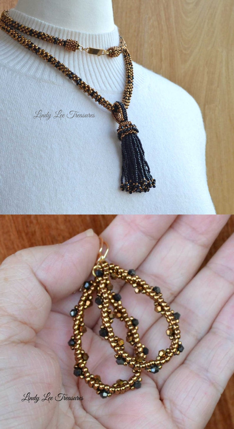 Elegant Bronze and Black Necklace with Tassel Pendant and Earrings Crystals and Seed Bead Woven Long Necklace Handmade Hoop Earrings