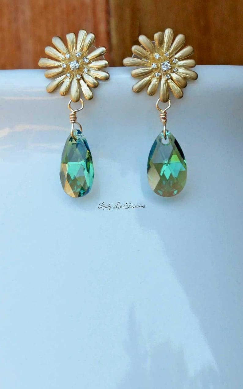 2bcd1085d77 Cute Earrings Featuring Golden Daisy and Swarovski Drop Crystals, Gold  Earrings, Dangle Earrings for Women, Sassy, Fun, Flirty & Sweet