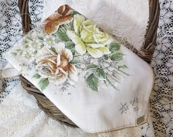 Vintage Handkerchief in Yellow, Green, and Brown flower print