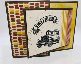 Happy Birthday, Grandpa, Classic Car, made in Alaska, Father's Day, handmade, Stampin Up