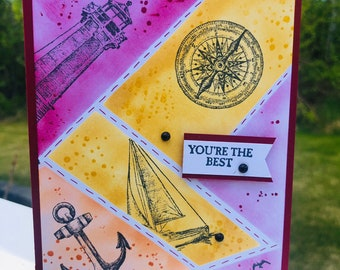 Birthday, all occasion, retirement, sailing around the world, life on the water, handmade, stampin' up, made in Alaska