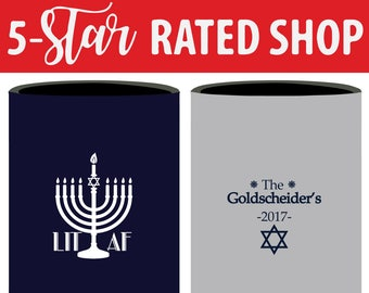 Hanukkah Can Coolers, Hanukkah Party Favor, Hanukkah Huggies, Hanukkah Party Can Coolers, Star of David Can Coolers, LIT AF Can Cooler (129)