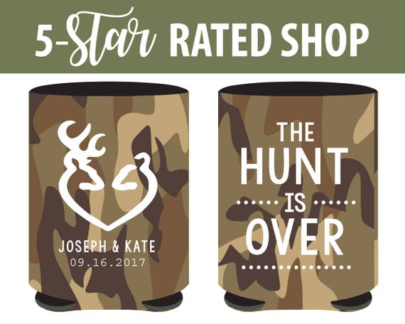 Antler Hunting Wedding Can Coolers The Hunt Is Over Wedding Etsy