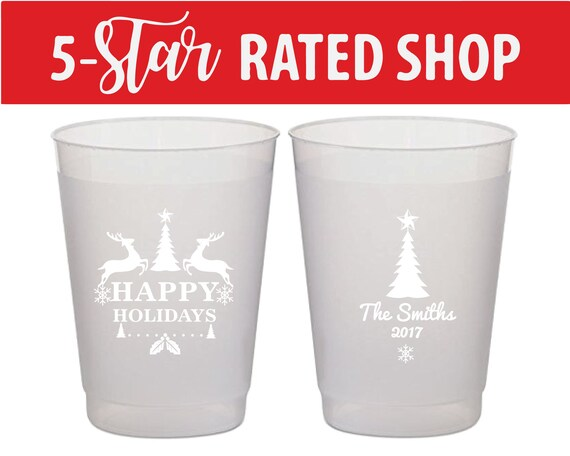 Colored Frosted Cup Holly Jolly Christmas Shatterproof Party Cups Wine Cups Personalized Christmas Cup Holiday Cocktails