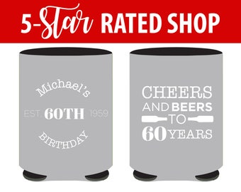 60th Birthday Can Coolers - Cheers and Beers to 60 Years Birthday Party Can Coolers - Personalized Birthday Can Coolers for Any age (87)