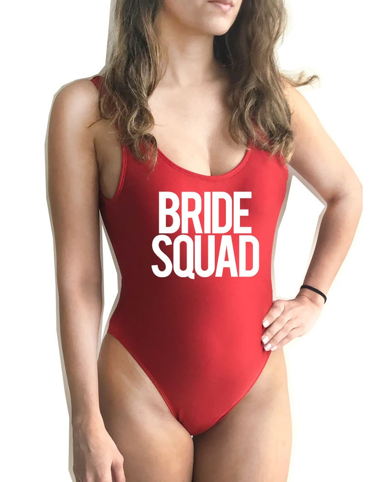3d23e811a1b61 Bride Squad Swim Suit Brides Squad Bathing suit Squad   Etsy
