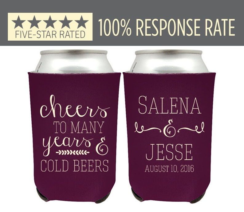 Cheers To Many Years And Cold Beers Custom Wedding Can Etsy