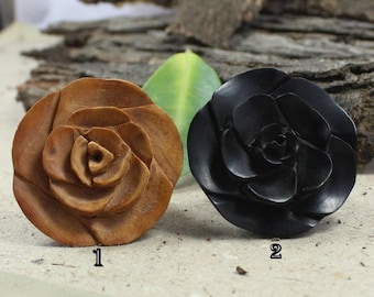Ebony Wood Ring, Handmade Ring, Flower Ring, Wooden Ring, Wedding Jewelry, Gift For Her, Cocktail Jewelry,