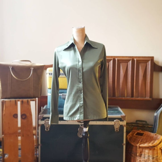 1970's Olive Green Disco Blouse