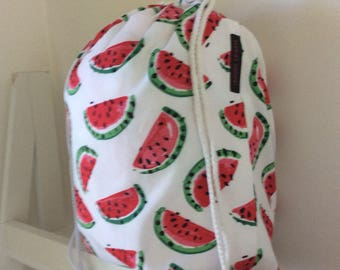 Watermelon 100% cotton drill  fabric - library drawstring bag