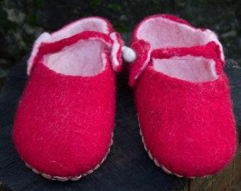 Ballerinas Red Natural wool