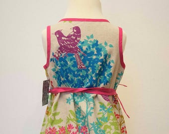 Linen wrap dress for girls in Echino fabric with awesome print