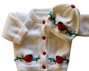 Lady Bug Knitted Baby  Sweater, White Sweater, Personalized Knitted Baby Sweaters, 3-6 Month Baby Sweater, 6-12 Month Baby Sweater