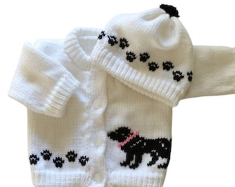 Large Black Dog,  Knitted Baby  Sweater, White Sweater, Personalized Knitted Baby Sweaters,  3-6 Month Baby Sweater, 6-12 Month Baby Sweater