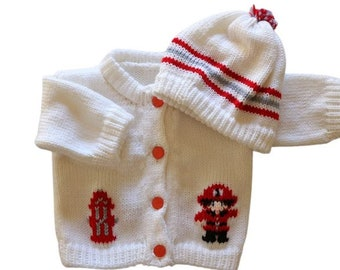 Firefighter Knitted Baby Sweater, White Sweater, Personalized Knitted Baby Sweaters, 3-6 Month Baby Sweater, 6-12 Month Baby Sweater