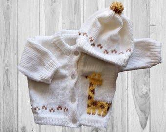 Personalized Knitted Baby Sweater, Giraffe Knitted Baby Sweater, Knitted Baby Sweater, Paw Prints Baby Sweater, Animal  Sweater, GiraffeBaby