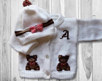 Personalized Teddy Bear Knitted Baby Button Up Sweater Cardigan 6 months and 12 months