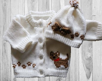Personalized Knitted Baby Sweater, Dog Knitted Baby Sweater, Yorkie Knitted Baby Sweater,  Baby Sweater, Dog Baby, Sweater and Hat