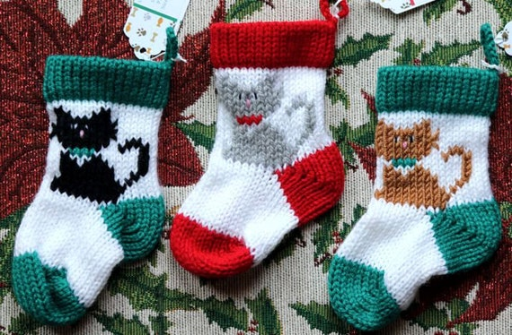 cat small christmas stockings knitted christmas stockings etsy