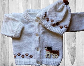 Personalized Knitted Baby Sweater, Dog Knitted Baby Sweater, St. Bernard Knitted Baby Sweater,  Baby Sweater, Dog Baby, Sweater and Hat