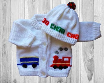 Personalized Knitted Baby Sweater, Train Knitted Baby Sweater, Choo Choo Train Baby Sweater, Personalized Baby Sweater, Train Baby