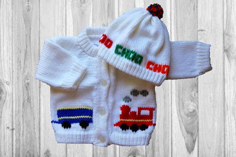 857e3e5b1f2 Personalized Knitted Baby Sweater Train Knitted Baby Sweater