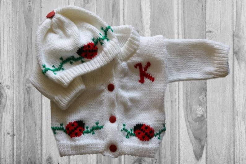 Personalized Knitted Baby Sweater Lady Bug Knitted Baby image 0