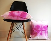 Magenta pink dip dyed watercolour square cushion cover pillow
