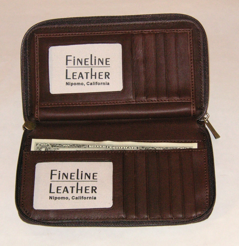 Premium American Full-grain Leather. Leather Organizer Wallet with Address Book insert and removable Checkbook Style 1016