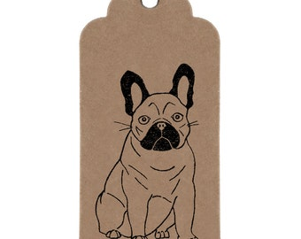 French Bulldog Gift Tags: Handmade Kraft Parcel Tags with Frenchie Print.
