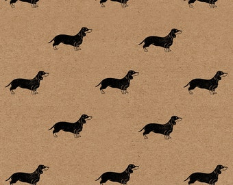 "Sausage Dog Wrapping Paper: Eco Friendly Kraft Gift Wrap Sheet with Dachshunds (70 cm x 50 cm / 27.5"" x 19.5"")"