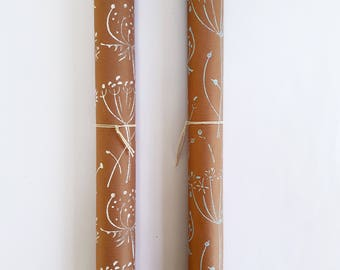 """Handmade Wrapping Paper Roll // Floral Print, Kraft Gift Wrap Roll  // Print in White or Duck Egg Blue // (2m x 70cm / 79"""" x 27.5"""")"""