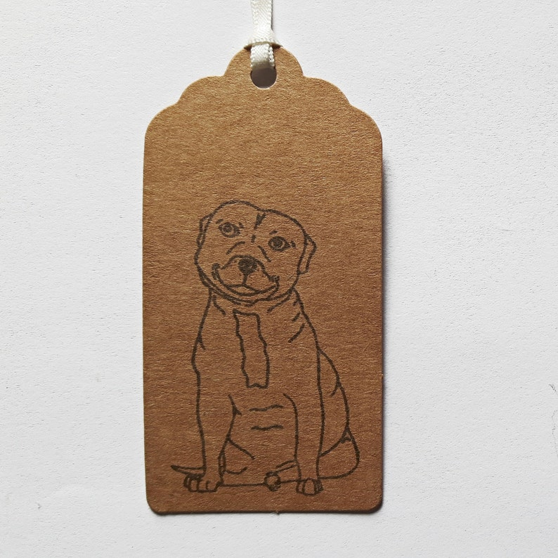 Handmade Kraft Parcel Tags with Staffie  Staffordshire Bull Terrier. Staffy Gift Tags