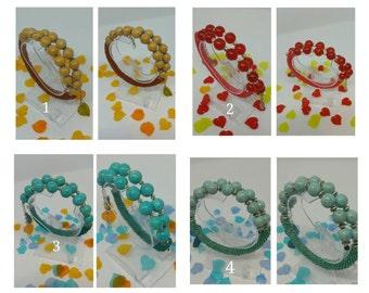 "Bracelet ""Mix"" gems and beads crochet beads"