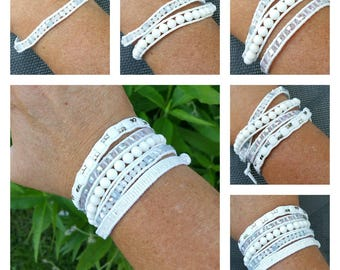 """""""Paradise"""" leather wrap cuff. 5 rows."""