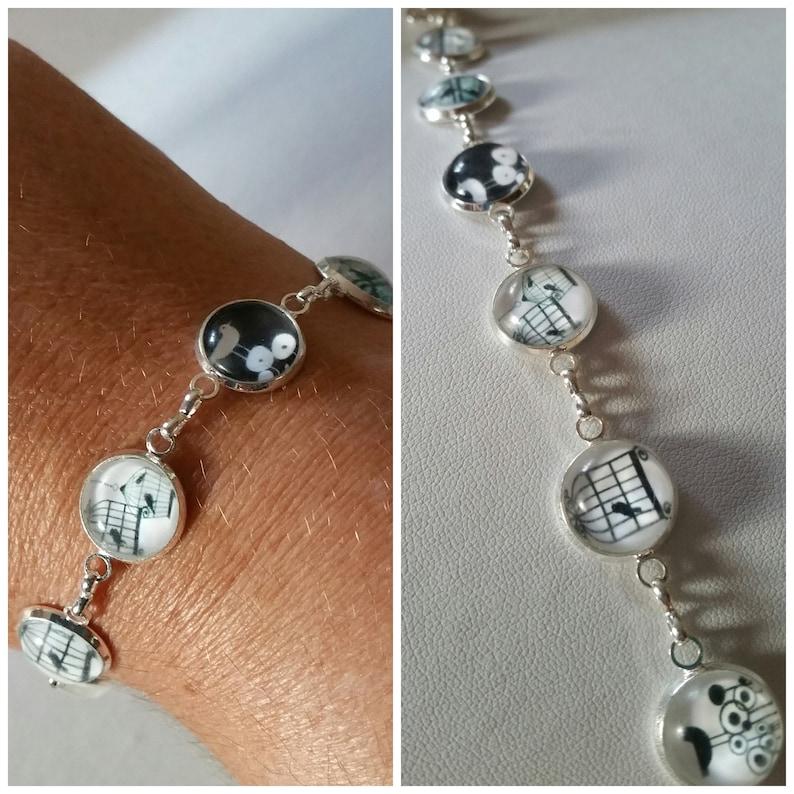Silver bracelet glass cabochons.