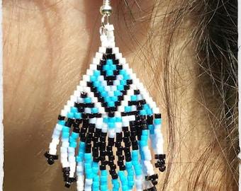 Woven earrings, Indian style.