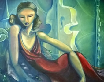 """FREE SHIPPING! Original Oil Painting - """"Lady in Red"""""""