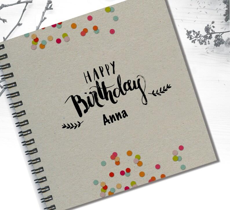 Happy Birthday Notebook Gray Custom Designed
