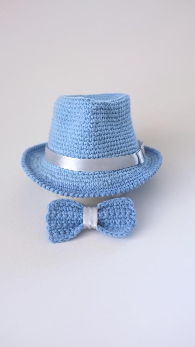 cc3dd67e08b Baby Blue Fedora Hat and Bow Tie Set Newborn Photo Prop Baby
