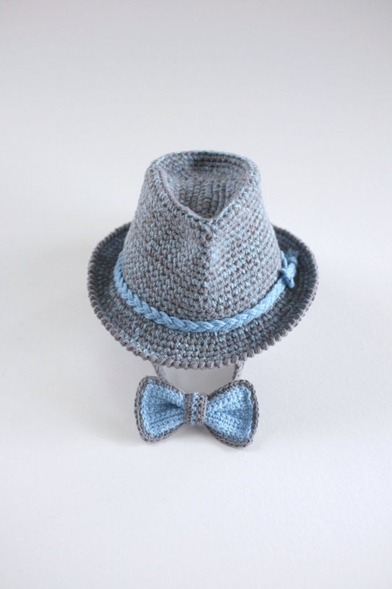 695f5b06466 Tweed Baby Fedora and Bow Tie Set Newborn Photo Props Baby