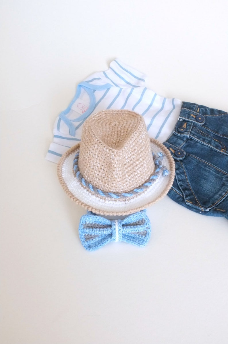 01d43243773 Baby Boy Shower Gift Fedora Hat Bow Tie Set Crochet Cotton Hat