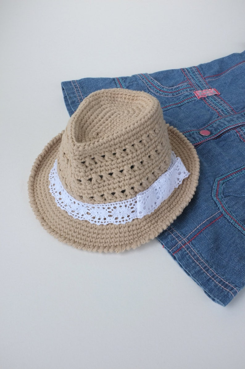 Baby Girl Fedora Hat Crochet Toddler Fedora Cotton Summer Hat  b1ccca121304