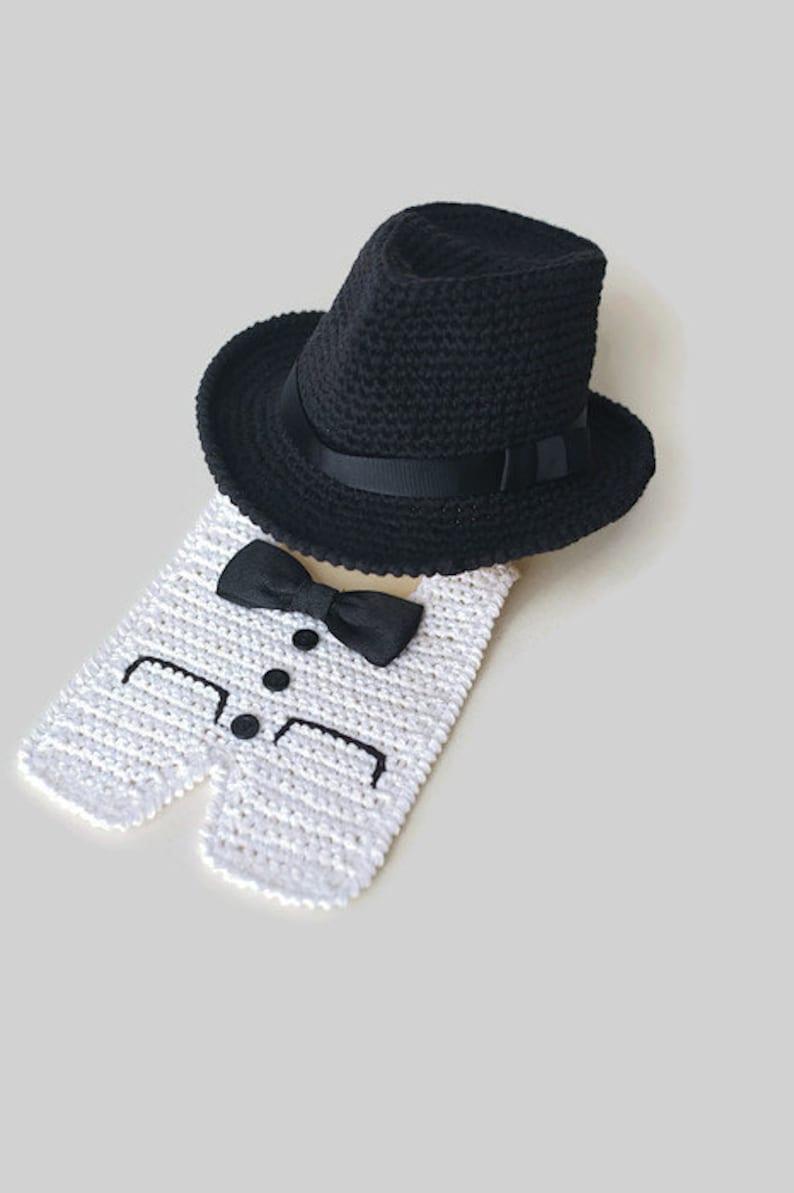 87d2ea5017c9c Newborn Fedora Hat and Tuxedo Bib Halloween Costume Baby