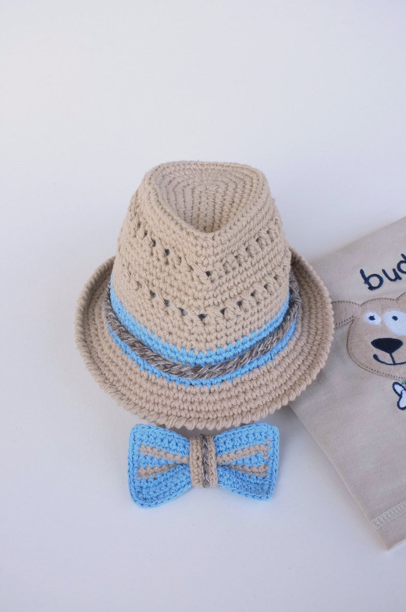 1e0233a23 Fedora Hat and Bow Tie Set Baby Boy Shower Gift Newborn Photography Props  Crochet Cotton Summer Fedora Hats Trilby Hat Beige Blue Gift Set