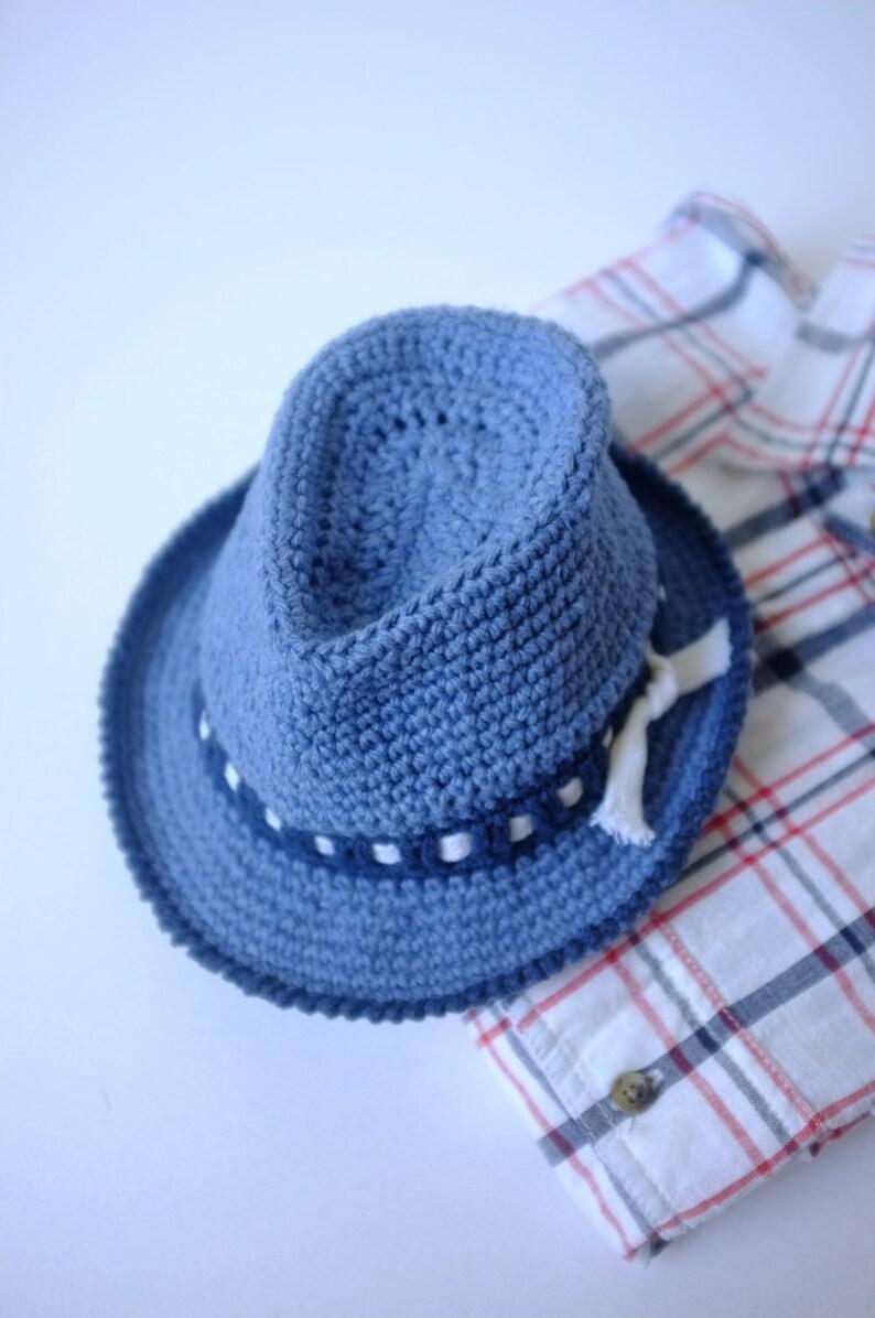 d6ecce25be8 Baby Fedora Hat Toddler Crochet Cotton Summer Hat Denim Fedora